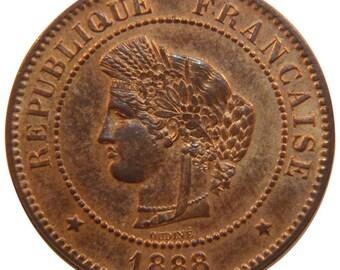france cérès 5 centimes 1888 paris km #821.1 ms(60-62) bronze gadoury #.
