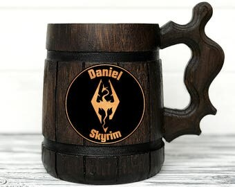Skyrims Mug. Gamer Mug. Skyrim Gift. Skyrim Stein. Custom Skyrim Beer Steins Cosplay Elder Scrolls Wooden Beer Tankard. Gifts for Men #85