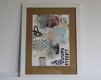 Abstract Aquarelle Painting, Contemporary Artist, Paperwork, Mixed Media