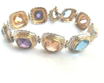 Chunky estate gemstone bracelet Amethyst Citrine Topaz