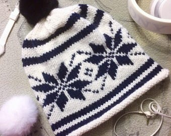 Hat with snowflakes