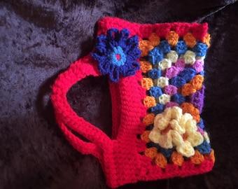Red Granny Square Mini Purse