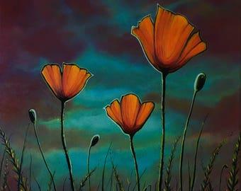 Evening Flowers: Original Acrylic Painting PRINT on 14 x 14 Gallery Canvas