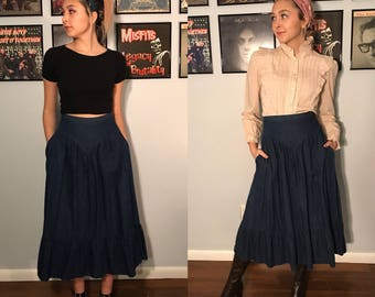 Vintage 80's Cotton Denim Prairie Skirt