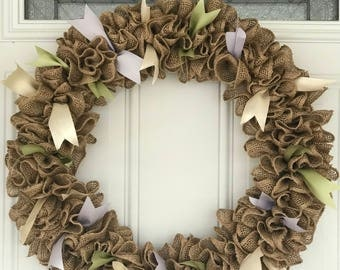 """18"""" burlap ruffle wreath with accent ribbon"""