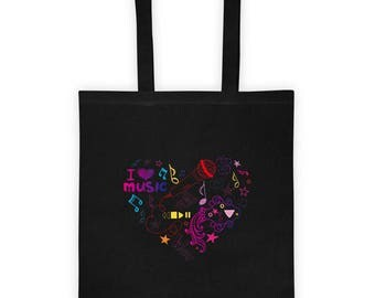 I love Music Funny Present Gift Live Lovers Sing Artist Tote bag
