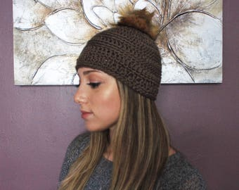 Crochet Fur PomPom Beanie