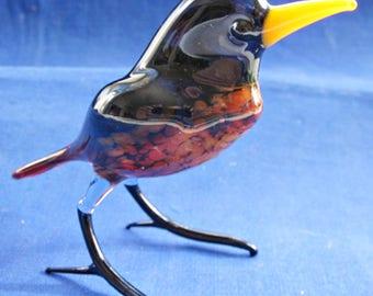 Hand Blown Czech Glass bird - Thrush