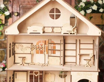 Large Wooden House for Dolls with Three Floors Best Baby Gift Wood Eco Toy