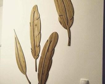 wall decor, feathers, laser cut, rustik oak, oak