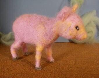 needle felted pig