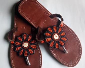 African sandal, beaded sandal ,masai sandal, leather sandal,gift for her,women sandal,kenyan sandal.