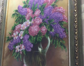 Lilac. The painting is embroidered with Czech beads. Beautiful, delicate shades are chosen.