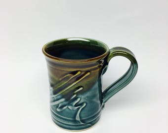 Pottery Mug Hand/Wheel Thrown, Stoneware Mug, Holds 12 oz