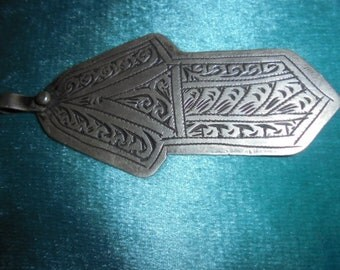"Moroccan Jewelry, fine old Berber Tangier silver engraved hamsa, 3 3/8"" long, great shape"