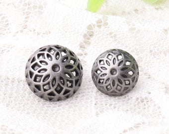 metal buttons 10pcs 2 different sizes 12*9/10*8mm hemispheric buttons hollow buttons metal shank buttons light black buttons
