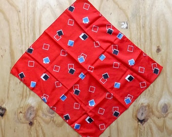 Vintage Red Square/Geometric Print Neck Scarf