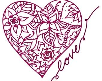 Henna Heart with love writing