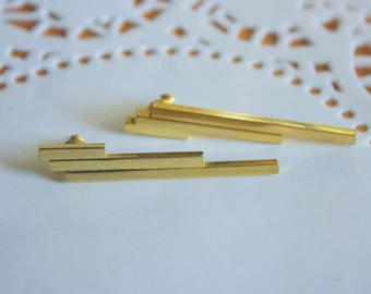 Vintage Stacked Gold Toned Bar Earrings | Minimalist Jewelry | Collectible Gift Idea |