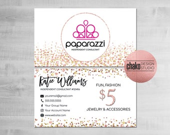 Paparazzi Business Cards, Paparazzi Consultant Cards, Paparazzi Accessories, Paparazzi Cards, Business Card, Pink, Gold, Glitter - PZ11