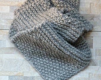 Hand knitted cozy grey scarf