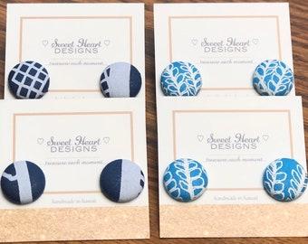 Hawaiian Print Button Earrings