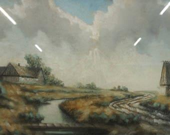 Irish Village along a River. Original Framed Oil Pastel Painting