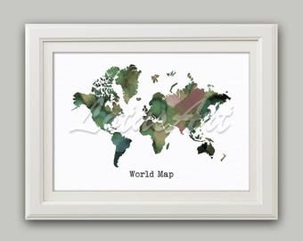 World Map Watercolor Print Pastel Colours Wall Art