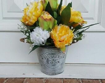 Silk flower arrangement - Cheerful Yellow Peonies