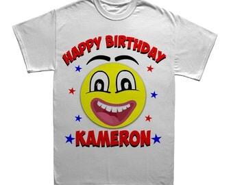 Smiley Face Emoji Custom Birthday T-shirt