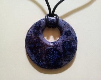 Blue round ceramic pendant
