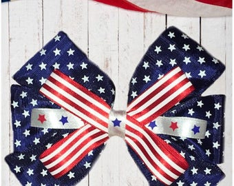 All American Patriotic Hair Bow