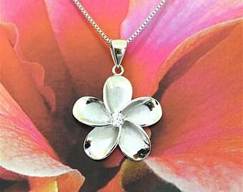 5 pcs, Plumeria Pendant, Wholesale Priced Plumeria Pendant, Silver Plumeria W. CZ Pendant, W2031 Hawaiian Jewelry