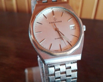 Vintage Collectible Men's Swiss Made Wrist Watch CANDINO Quartz with Date