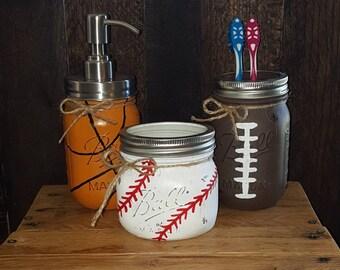 Sports bathroom set, mason jar bathroom set, boys bathroom