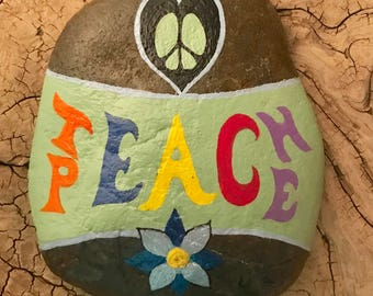 Teach Peace handpainted river rock