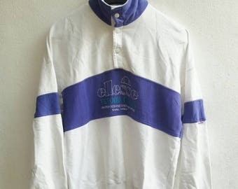 Vintage 1990 90s Ellesse jacket Ibiza hipster tennis perugia Italia purple white training hip hop sweater sweatshirt big logo