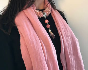 Jewel scarf, scarf with hard stones and crystals, Tourchon, elegant gift, gift for her