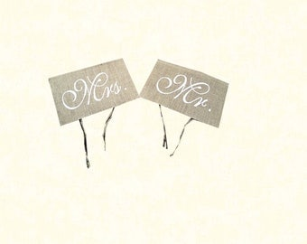 Burlap Mr & Mrs Chair Signs