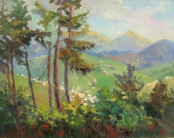 Painting Mountain landscape Forest Original painting  Summer Oil art by  Anna Trachuk