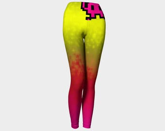 Yoga Leggings gradiant pixelised with arcade geek in pink and yellow