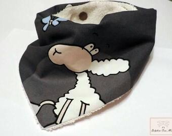 Bandana bib - printed sheep
