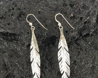 Long feather earrings in sterling