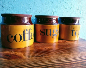 Vintage Coffee, Tea and Sugar Jars by Shorter & Son. Retro kitchen canisters