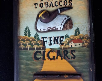 She teaches vintage RJ plaque. Morans Tobacco pipe keychain wooden wall.