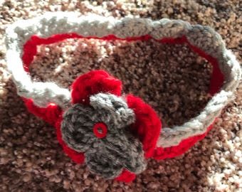 Scarlet and Gray Infant headband