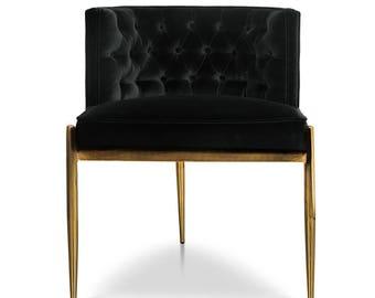 Dining Chair - Brass and Black Velvet