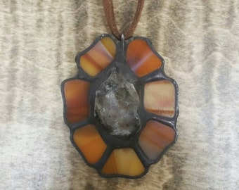 Handcrafted stained glass necklace pendants with gems!
