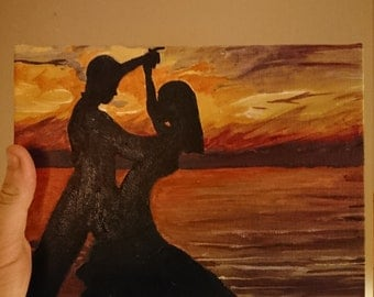 Acrylic painting on canvas of a couple dancing in the sunset