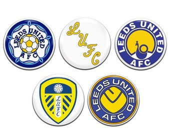5x Leeds United Football Soccer Retro 25mm / 1 Inch D Pin Button Badges